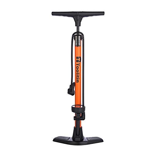 TOOLITIN Floor Bicycle Pump with Gauge,160 Psi High Pressure,Bike Pump Compatible with Presta and Schrader Valve,Bike Tire Pump for Road Bike,MTB,Hybrid,Balls