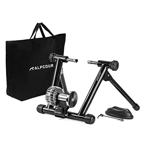 Fluid Bike Trainer Stand – Alpcour Portable Stainless Steel Indoor Trainer w/ Fluid Flywheel, Noise Reduction, Progressive Resistance, Dual-Lock System – Stationary Exercise...