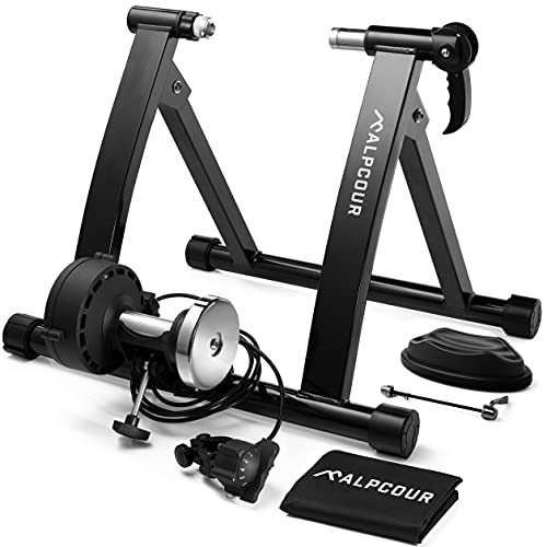 Alpcour Bike Trainer Stand – Portable Stainless Steel Indoor Trainer w/ Magnetic Flywheel, Noise Reduction, 6 Resistance Settings, Quick-Release & Bag – Stationary Exercise for...