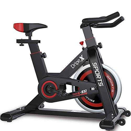 Dripex Upright Exercise Bikes (Indoor Studio Cycles) - 2020 Version-Studio Quality with Heart Rate Monitor, Large Bidirectional Flywheel, Belt Drive, Infinite Resistance, LCD...