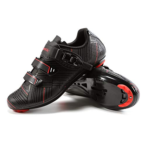 Santic Cycling Shoes Road Cycling Riding Shoes Road Bike Shoes with Buckle- Roadway Black
