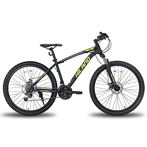 Hiland 27.5 Inch Mountain Bike 21Speed 19 inch Frame with Dual- Disc Brake Suspension Fork MTB Bicycle Urban City Bicycle Yellow