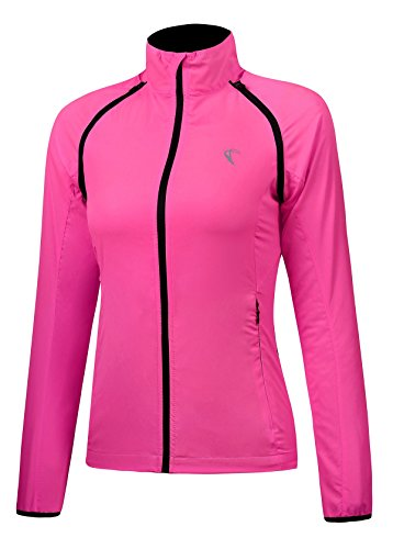 J.CARP Convertible Women Cycling Jacket Windproof Water Resistant Softshell Rose Red M