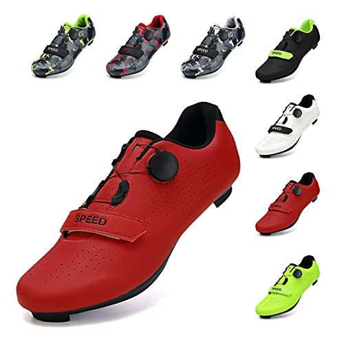 SWISSWELL Men's Road Cycling Shoes Compatible Mountain Bike with SPD/SPD-SL & Fast Rotating Buckle (Red,15Women/12 Men)