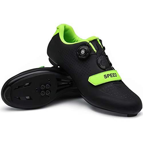 Black/Green Mens Road Bike Cycling Shoes Indoor Racing Peleton Pelaton Compatible Bikes Shoes with Rotating Buckle for Men/Women Outoor Bicycle Shoe Zapatos para Bicicleta De Ruta...