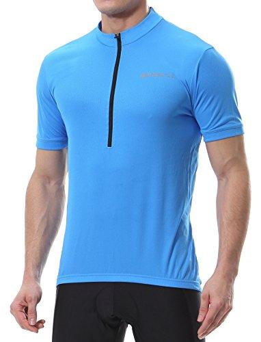 Spotti Men's Cycling Bike Jersey Short Sleeve with 3 Rear Pockets- Moisture Wicking, Breathable, Quick Dry Biking Shirt Blue