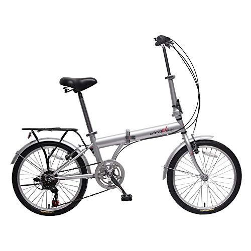 IDS Home unYOUsual U Transformer 20' Folding City Bike Bicycle 6 Speed Shimano Gear Steel Frame Mudguard Rear Carrier Front Rear Wheel Reflectors Silver