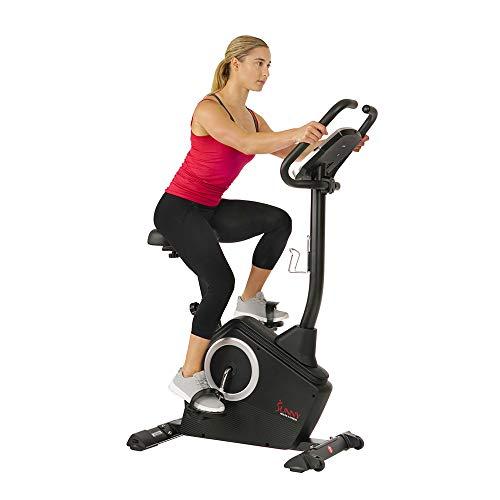 Sunny Health & Fitness Upright Exercise Bike with Electromagnetic Resistance, Programmable Monitor and Pulse Rate Monitoring - SF-B2883