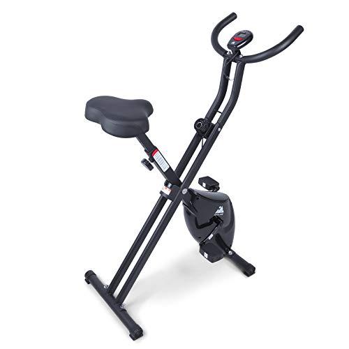 Uten Folding Exercise Bike, Upright Foldable Stationary Bike, Workout Bike for Indoor Trainer Cardio for Home Use, 8-Level Adjustable Magnetic Resistance