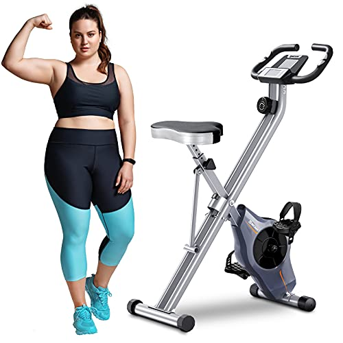 BCAN Folding Exercise Bike-Foldable Stationary Bikes with Magnetic Resistance,Pulse Monitor and Comfortable Seat