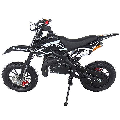 SYX MOTO Kids Mini Dirt Bike Gas Power 2-Stroke 50cc Motorcycle Holeshot Off Road Motorcycle Holeshot Pit Bike, Fully Automatic Transmission, Black