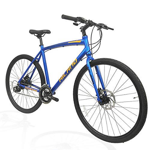 Hiland Road Hybrid Bike Urban City Commuter Bicycle with Disc Brake for Men Comfortable Bicycle 700C Wheels 24 speeds Bikes Blue