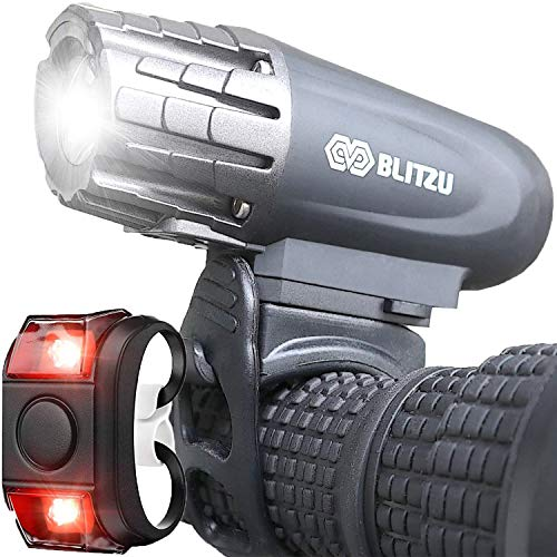 BLITZU Bike Lights Set USB Rechargeable Gator 320 Lumens Powerful Front and Back Light Bicycle Accessories for Night Riding, Cycling Headlight Tail Rear Reflectors for Kids, Road,...