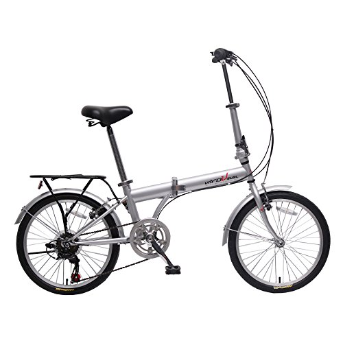 IDS unYOUsual U Transformer 20' Folding City Bike Bicycle 6 Speed Shimano Gear Steel Frame Mudguard Rear Carrier Silver