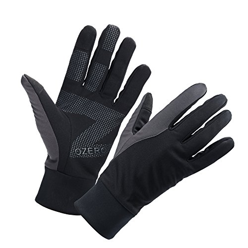 OZERO Touch Screen Gloves for Men, Winter Warm Touch Glove for Smart Phone Texting with Non-Slip Silicone Gel - Thermal Cotton - Windproof and Waterproof for Running, Cycling,...