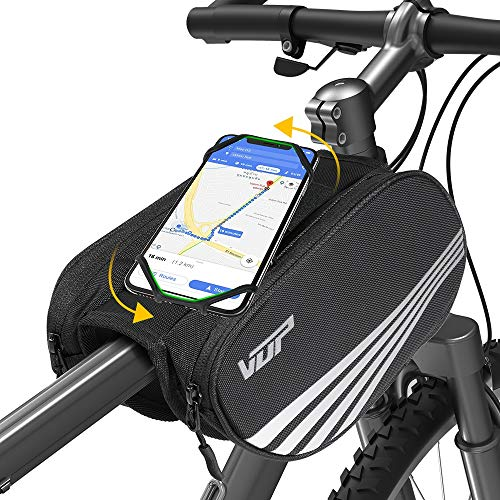 VUP Bike Front Frame Bag, Universal Bicycle Motorcycle Handlebar Bag, Top Tube Bike Bag with 360° Rotation Cell Phone Holder for iPhone 11 Pro/XS MAX/XR/X/7/8 Plus, Galaxy...