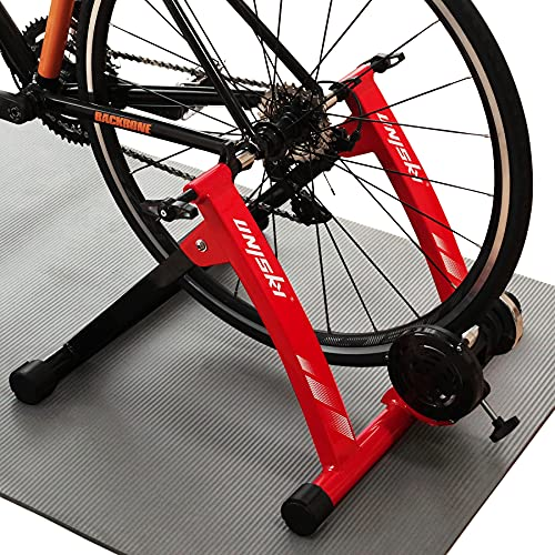 Unisky Bike Trainer Stand Indoor Riding Steel Bicycle Exercise Stand with Noise Reduction Wheel Magnetic Stationary Stand fits for 26-28inch, 700C Wheel