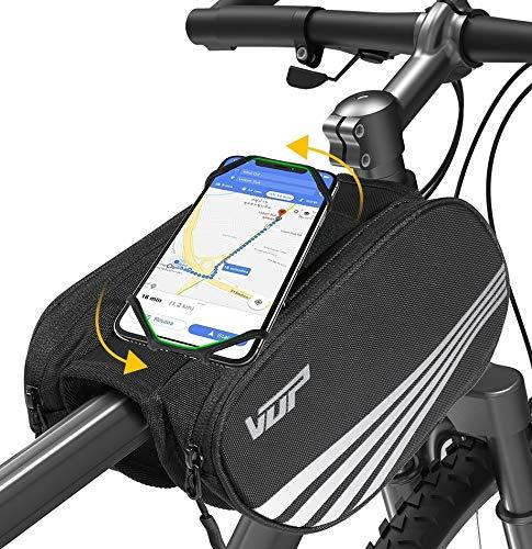 VUP Bike Front Frame Bag, Universal Bicycle Handlebar Bag, Top Tube Bike Bag with 360° Rotation Phone Holder for iPhone 12/Pro/12 Pro max/12 mini/11 Pro/XS max/XR/X/7/8 Plus,...