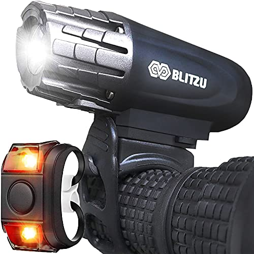 BLITZU Bike Lights Front and Back, Bicycle Accessories for Night Riding, Cycling. Reflectors Powerful Rechargeable Headlight and Taillight Rear LED Safety Light Set for Kids Adults...