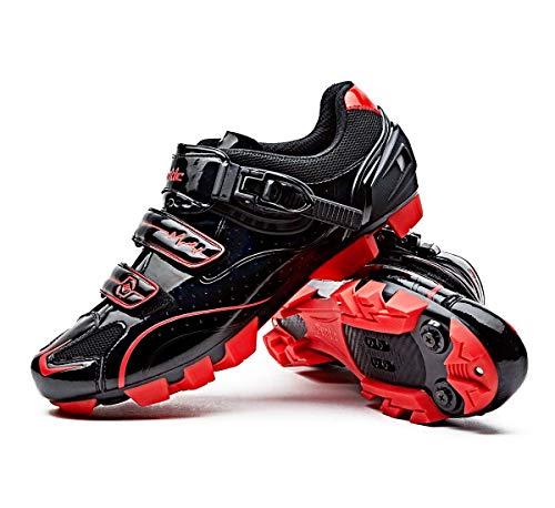 Santic MTB Shoes Mountain Bike Shoes Cycling Shoes SPD Shoes Men Bike Shoes, Color: Black-a ,US9.5