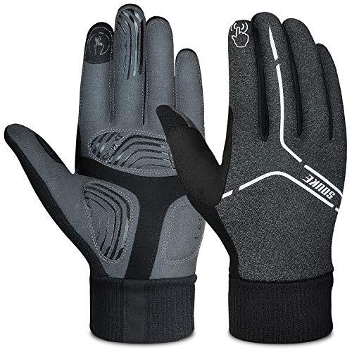 Souke Sports Winter Cycling Gloves Men Women, Touch Screen Padded Bike Glove Water Resistant Windproof Warm Anti-Slip for Running, Biking, Workout(Grey,X-Large)