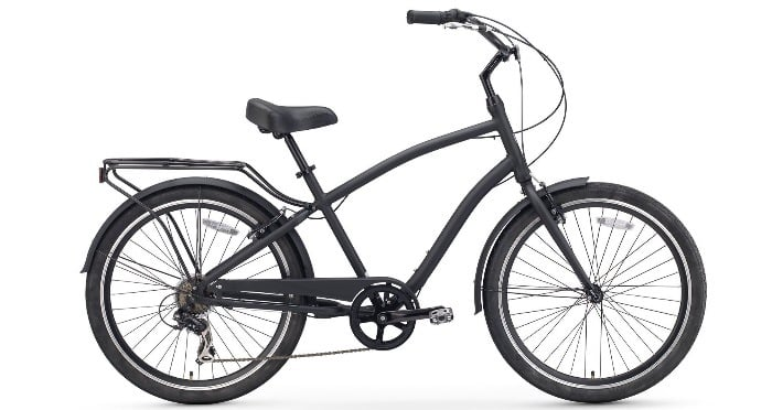 Sixthreezero EVRYjourney Men's 26-Inch 7-Speed Sport Hybrid Cruiser Bicycle, Matte Black