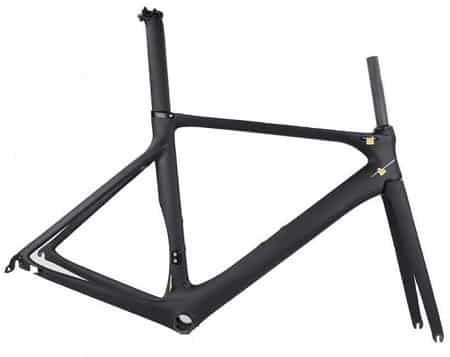 Example of a road bike frame made of carbon fiber