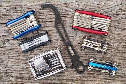 Six different bike multi-tools.