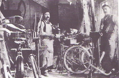 The cycle workshop in the old forge at Pearson's