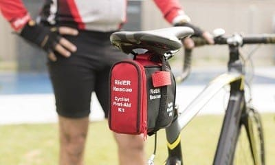 First aid kit for a bicycle.