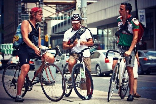 Group of bike messengers