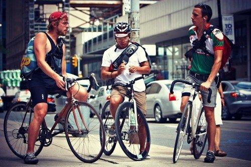 Group of bike messengers