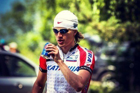 Cyclist drinking sugary beverage.