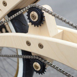 Gears in a wooden bike.