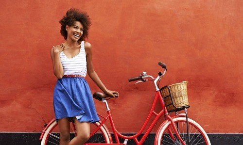 Ride a bike in a skirt