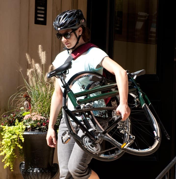 Girl With Folding Bike