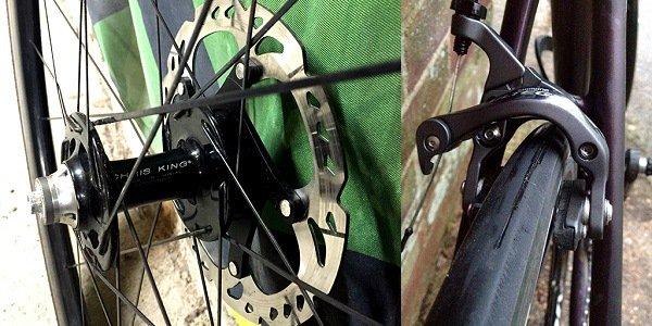 Discs vs rim brakes on a mountain bike.