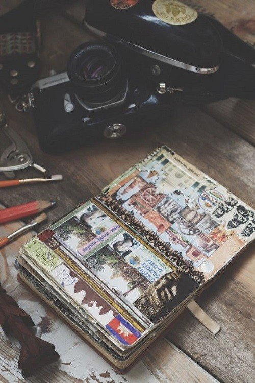 Adventure journal, camera and equipment on the table