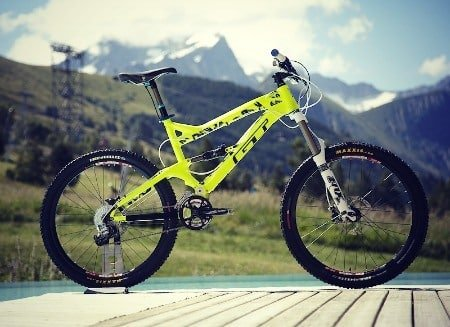 Acid green all mountain bike.