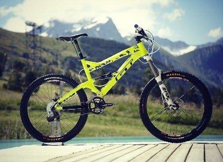 Acid green all mountain bike.
