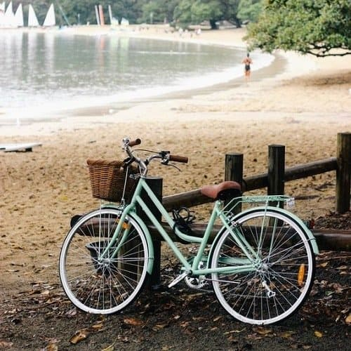 Turquoise bike parked by the lake