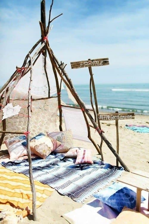 Cozy camping setup on the beach