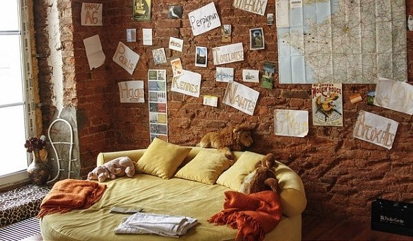 Yellow couch and wall with a map