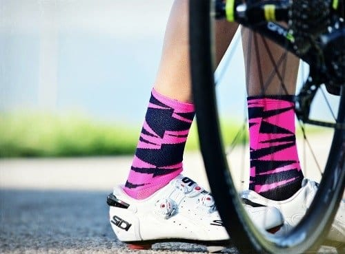 Woman wearing cycling socks