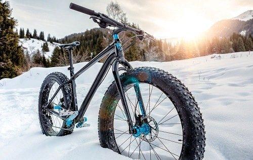 Fat bike in the snow.