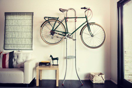 Bike storage - gravity stand.
