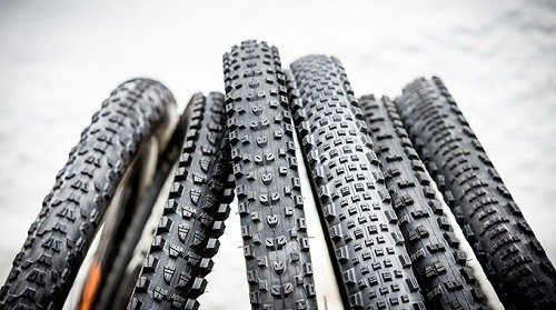 Different tire types for mountain bikes.