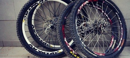 Wheels of mountain bike.