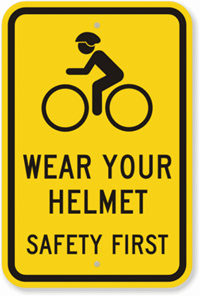 Safety first yellow sign