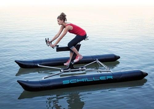 Woman riding Schiller Sports X1 Water Bike